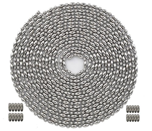 Okones 32 Foot Length,3mm(1.18 inch) Bead Diameter,Oval Ball Chain,304 Stainless Steel,with 20pcs Matching 'B' Couplings (3mm diameter, Oval+Ball) ()