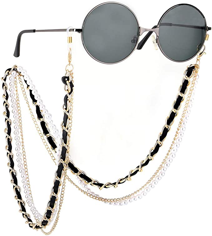 CosTimo 3 In 1 Women Sunglass Eyeglass Chain Glasses String beaded Pearl Mask