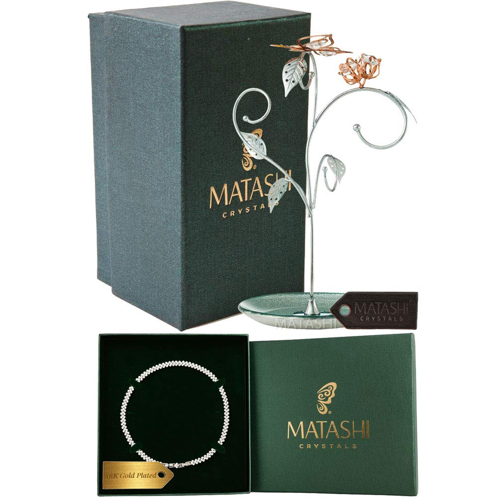 Matashi Rose Gold and Chrome Plated Jewelry Stand Combo with 16 Inch Rhodium Plated Necklace