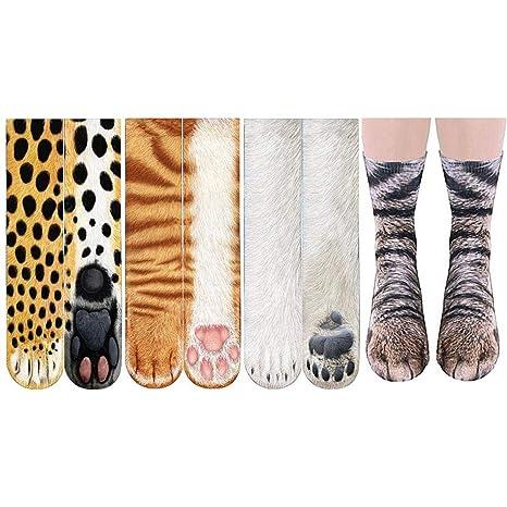 Calcetines unisex Kobwa con diseño de patas de animales, algodón 3D, diseño de tigre