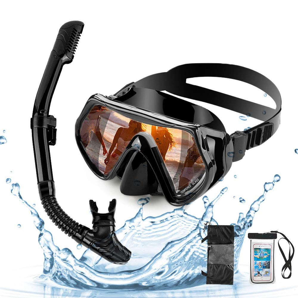 LBLA Snorkeling Package Set for Adults Snorkel Mask Set Free Breathing Anti-Fog Anti-Leak Panoramic Glass Diving mask Dry Top Snorkel Set Adult with Silicon Mouth Piece by LBLA