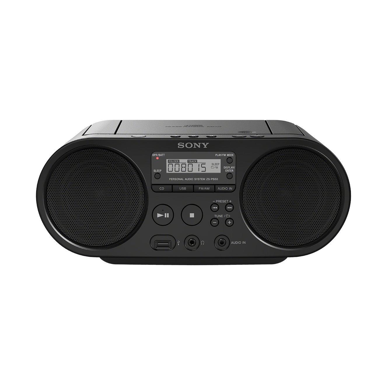 Sony CD Boombox with AM/FM Radio USB Playback/Audio Input, ZSPS50B.CED (USB Playback/Audio Input)