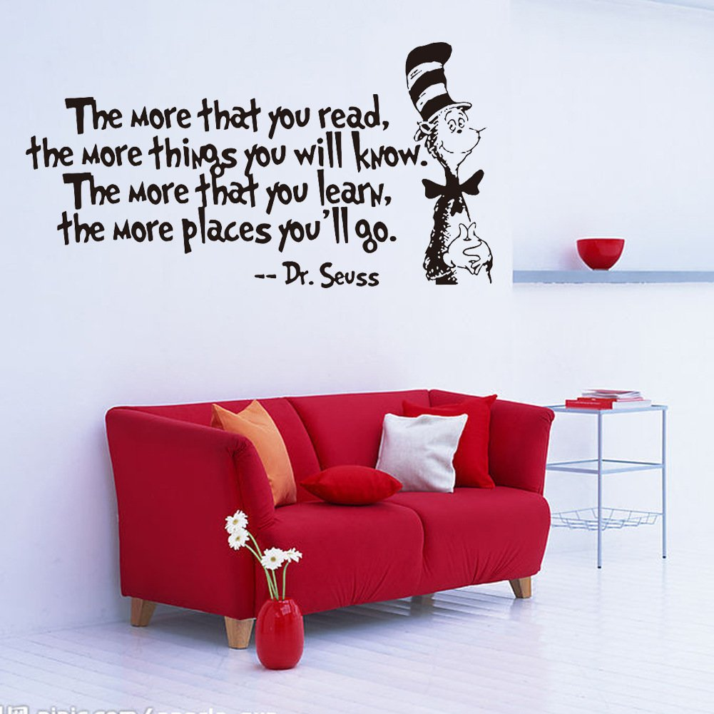 Removable Quotes and Saying Dr. Seuss the More You Read, the More Things You Will Know Transfers Murals Reading Wall Decal Love Baby Kids Children Bedroom School Art Wall Decals Stickers by Dofel (Image #3)