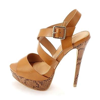 ShoeDazzle Womens Shanelle Peep Toe Casual Platform Sandals Tan Size 75