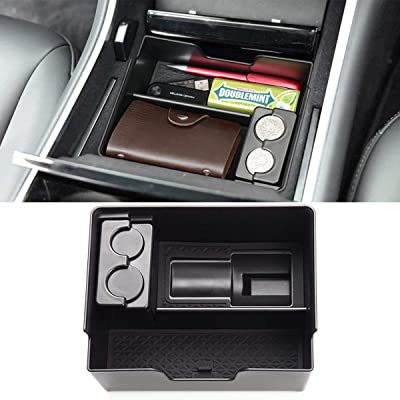 Jaronx for Tesla Model 3 Center Console Organizer Tray, Armrest Storage Box Tray with Charging Adapter Holder + Coin Box (Fit: Tesla Model 3-2020 2020 2020): Automotive