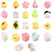 Kawaii Mini Soft Stretchy Mochi Animals Squeeze Toys - Aolvo 22pcs Cute Animal Slow Rising Mochi Squishy Pack Stress Relief Anxiety Toys Fidget Hand Toy Novelty Gift for Kids Children, Random Color