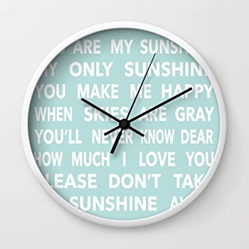 amazon co jp society6 you are my sunshine in blue wall clock white
