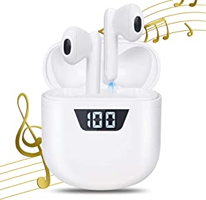 IDAKODU Wireless Earbuds, Bluetooth 5.0 Noise Canceling Stereo Headphones[with Power Display Charging Case/Type-C Fast Charge] Deep Bass Built-in Mic Ear Buds for iPhone/Android/Samsung