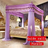 Royal- European Style Four-poster Rails Mosquito Net Three-door Single Double Encryption Thickening Princess Style Stainless Steel Bracket ( Color : Purple , Size : 1.2m (4 Feet) Bed )