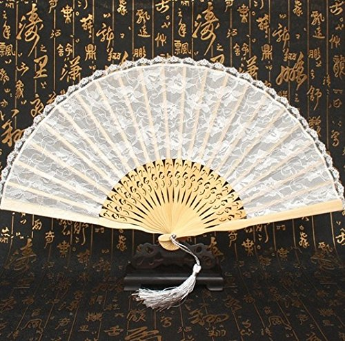 50Pcs/Lot Bamboo White Lace Fan Elegant Hand Fans Supplies Dancing Wedding Party Decor Fan Decorations by Hand Fan