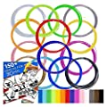 640ft Premium Quality Filaments for 3D Pen - 1.75 ABS - 16 colors of which 2 Glow in Dark - 150 Bonus Stenicls (Downloadable PDF eBook) - Sample Fun Pack - 40 feet per color