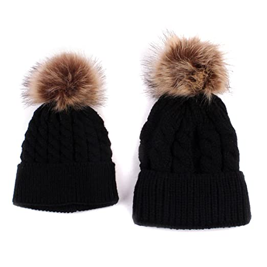 3e2eb8cd8 oenbopo 2PCS Parent-Child Hat Warmer, Mother & Baby Daughter/Son Winter  Warm Knit Hat Family Crochet Beanie Ski Cap