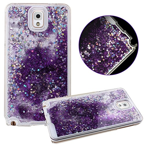 Shopping_Shop2000® Sparkly Bling Stars and Glitter Transparent Quicksand Flowing Liquid Water Aqua Movable Dynamic Plastic Hard Back Cover Case For Samsung Galaxy Note 3 (Purple)