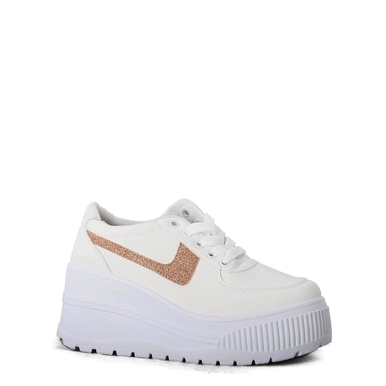 Rebajas Zapatillas Mujer Plataforma y Cuña Blanca Savage: Amazon.es: Zapatos y complementos