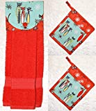 3 Piece Set - 1 Hanging Hand Towel - 2 Potholders - Retro Cats And Cosmic Starbursts On Aqua & Coral