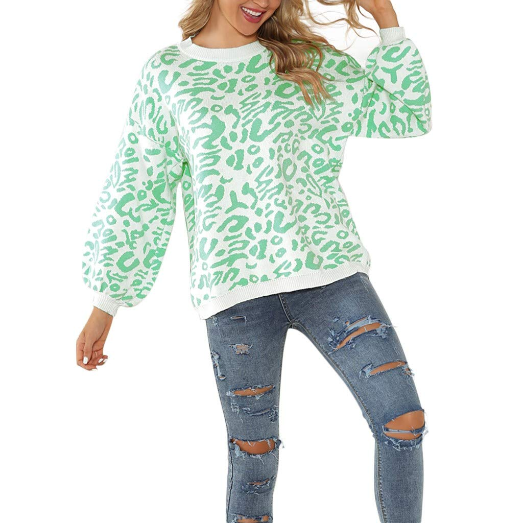 〓COOlCCI〓Women's Oversized Casual Leopard Print Long Sleeve Crew Neck Knitted Pullover Sweaters Tops Blouse Sweatshirt Green by COOlCCI_Womens Clothing