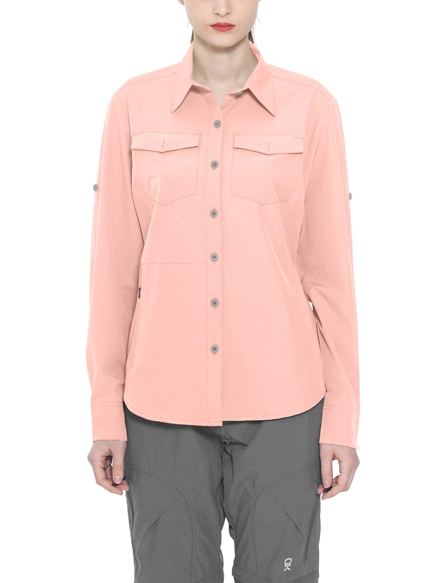 Little Donkey Andy Women's Stretch Quick Dry Water Resistant Outdoor Shirts UPF50+ for Hiking, Travel, Camping Pink Size M by Little Donkey Andy