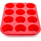 Wolecok Silicone Muffin Cupcake Baking Pans, Non-Stick, Easy To Clean, Oven/Microwave/Dishwasher/Freezer safe, Heat Resistant up to 450°F (12 Cup, Red)