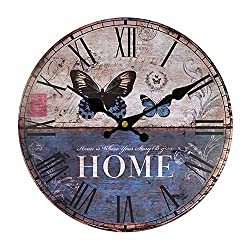 Vintage Style Old Fashion Silent Wooden Wall Clock Wooden Art Decoration for Home Living Room (20inch)