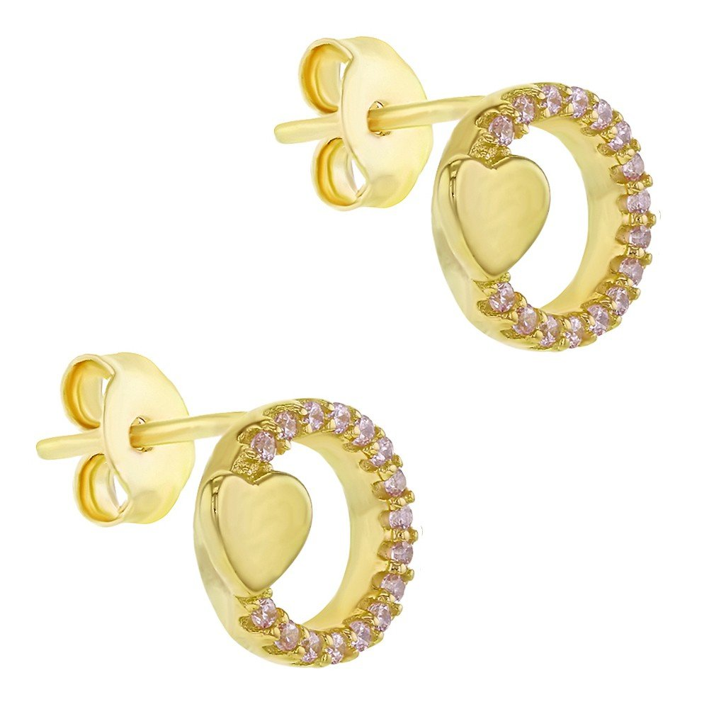 Yellow Gold Flashed 925 Sterling Silver Pink CZ Circle Heart Stud Earrings for Girls and Teens