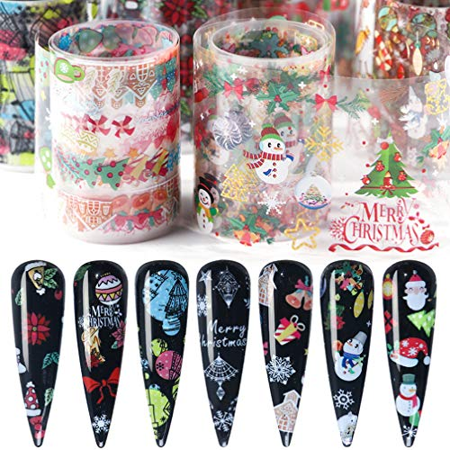 Christmas Nail Art Foil Transfers Stickers Nail Foil Adhesive Wraps Decals 10 Sheets Winter Starry Sky Nail Art Decoration Snowflakes Bell Snowman Santa Claus Tree Candy Elk Manicure Tips Decor