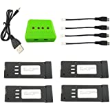 sea jump 4PCS 3.7V 500mah Lithium Battery + 4in1 Charger for E58 S168 JY019 Folding Quadcopter Spare Parts