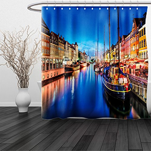 HAIXIA Shower Curtain Urban Entertainment District Denmark Nyhavn Canal Copenhagen River Boats Shops Attraction Multicolor