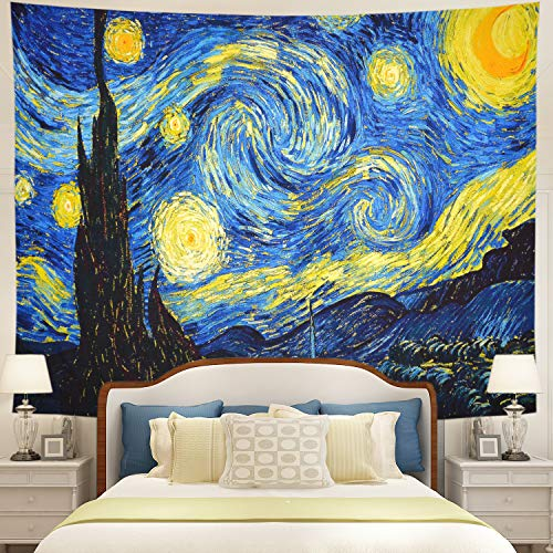 (Tushelia Tapestry Starry Night Tapestry Wall Hanging Galaxy Wall Tapestry Abstract Painting Wall Hanging Psychedelic Hippie Tapestry Blue Watercolor Tapestry for Living Room Wall Decor)