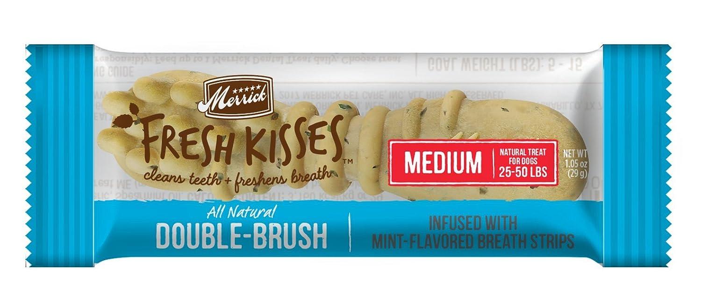Merrick Fresh Kisses Coconut Oil Botanicals Extra Small Brush Dental Dog Treat – Single Serve Box 40 ct