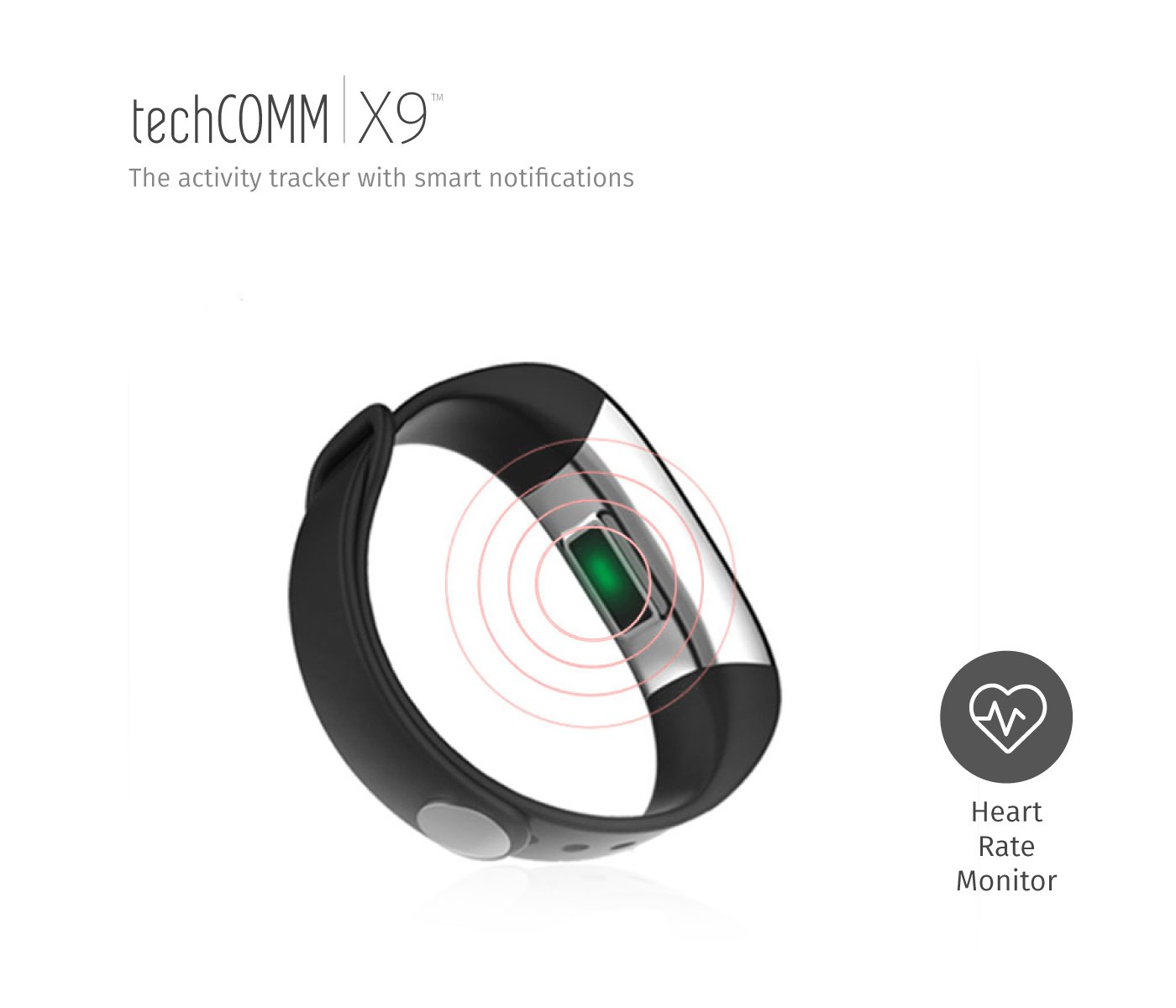 TechComm X9 Smart Band Fitness Tracker Heart Rate Blood Oxygen Monitor