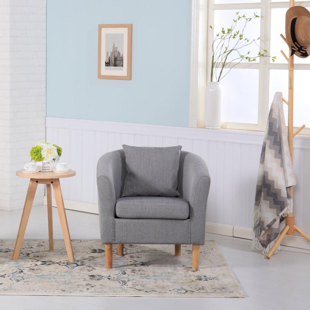 Sessel aus Leinenstoff, für Esszimmer, Wohnzimmer, Büro oder Empfang Modern 73W x 65D x 72H cm hellgrau