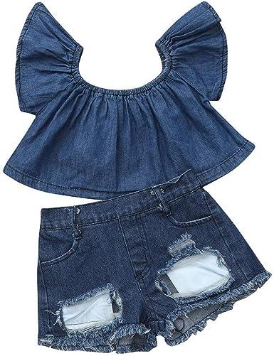 PAOLIAN Conjuntos para Niñas Verano Recién Nacidos Camisetas sin Tirantes Manga Corta Bebe Niña Pantalones Vaquero Corto Roto Algodón 12 Meses-6 Años: Amazon.es: Ropa y accesorios