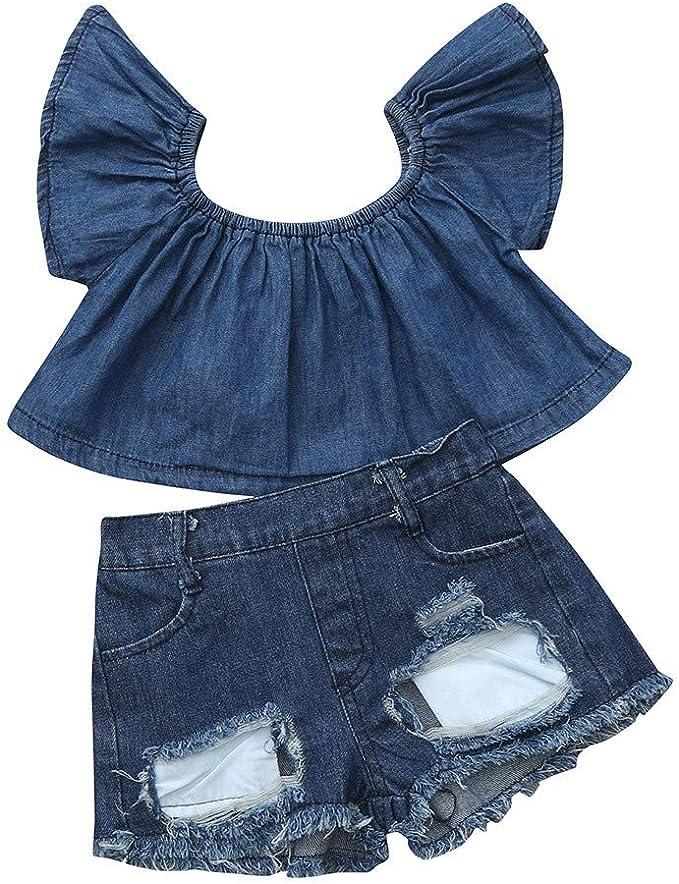 Jeans Shorts SCFEL Kinder Kleidung Baby M/ädchen Schulterfrei Crop Top Denim R/üschen Rock Outfits