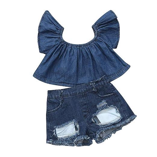 cfe4e8d44 Amazon.com: Cuekondy Toddler Baby Girls Kids 2019 Summer Fashion Denim  Clothes Outfits Off Shoulder Tops+Hole Denim Shorts Jeans Set: Clothing