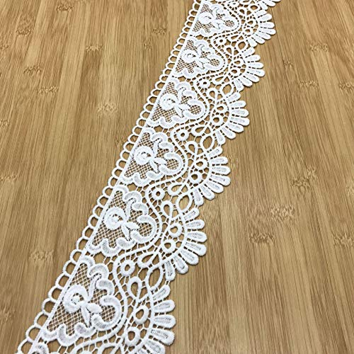 Venise Edging Cotton Lace Trim Beautiful Flower Eyelet Embroidery Bridal Lace Triming for Garment Sewing DIY Craft Supply 3 Yards/Set (White Crown)