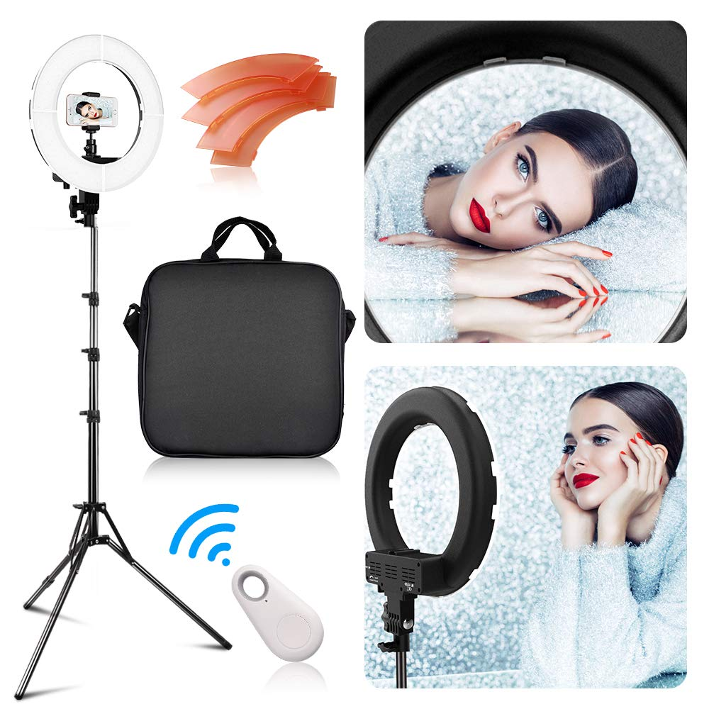 LED Ring Light with 2M Stand, FOSITAN 13.6 inch Outer/8.6 inch Inner 45W 5500K/3200K Dimmable LED Circle Lighting Kit with Bag for Camera Photo YouTube Vlog Makeup Video Shooting Salon Portrait Selfie by FOSITAN