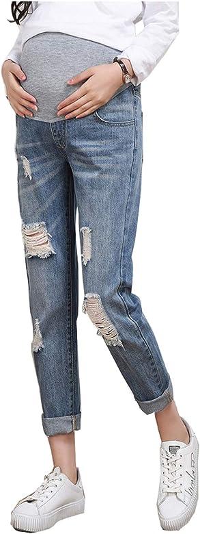 c738d2d5a5dc Primavera Estate Jeans Strappati Elasticizzati Donna Pantaloni Premaman  Regolabili Jeans Denim Premaman Pantaloni da Leggings Premaman Blu  Gravidanza ...