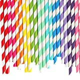 Ancdream 100x Colourful Paper Drinking Straws for Wedding Birthday Party Decoration