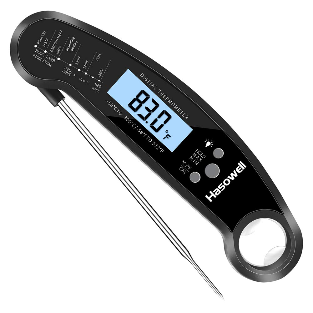 Hasowell Upgraded Meat Thermometer Digital Instant Read Long Probe Waterproof Cooking Thermometer Digital Candy Thermometer with Backlit and Magnet Super Fast Meat Thermometer for Grilling Liquid BBQ