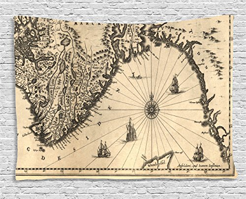Ambesonne Wanderlust Decor Collection, Ancient Map of Southern Part of the Norway Vikings World Old Scandinavian Lands Print, Bedroom Living Room Dorm Wall Hanging Tapestry, 60W X 40L Inch, Cream Grey ()