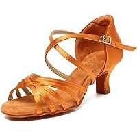 HIPPOSEUS Zapatos de Baile Latino para Mujer con Punta Abierta Zapatos de Baile de Salsa Latina para salón de Baile para…