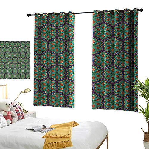 Warm Family Sliding Curtains Turquoise Spider Web Inspired Floral Detailed Image on Blue Backdrop Privacy Protection 72