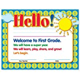 Welcome to First Grade Certificates 50 Pack | Elementary School Classroom Supplies for Teachers | By Teacher Peach