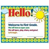 Welcome to First Grade Certificates 50 Pack | Elementary School Classroom Supplies for Teachers | By Teacher Peach