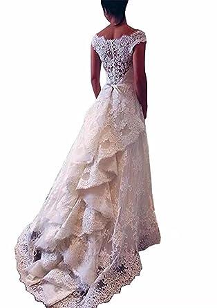 Amazon.com: FNKS CRAFT Line Vintage Lace Wedding Dresses Bridal ...