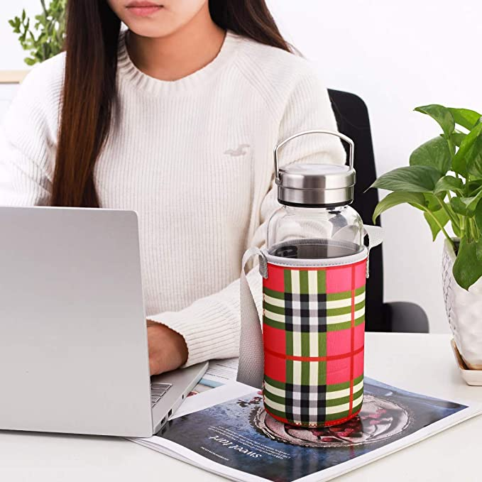 con Filtro Botella de Agua de Cristal sin BPA para Bebidas fr/ías y Calientes Funda de Neopreno y Cepillo de Limpieza para Bebidas fr/ías y Calientes Botella de Agua 1000ml