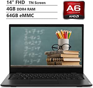 "Lenovo Education 14"" FHD Anti-Glare Display Light Thin Laptop, AMD Dual Core A6-9220C 1.8GHz Up to 2.7GHz, 4GB RAM, 64GB eMMC, WiFi, HDMI, Bluetooth, HD Webcam, USB Type C, Windows 10 Pro"