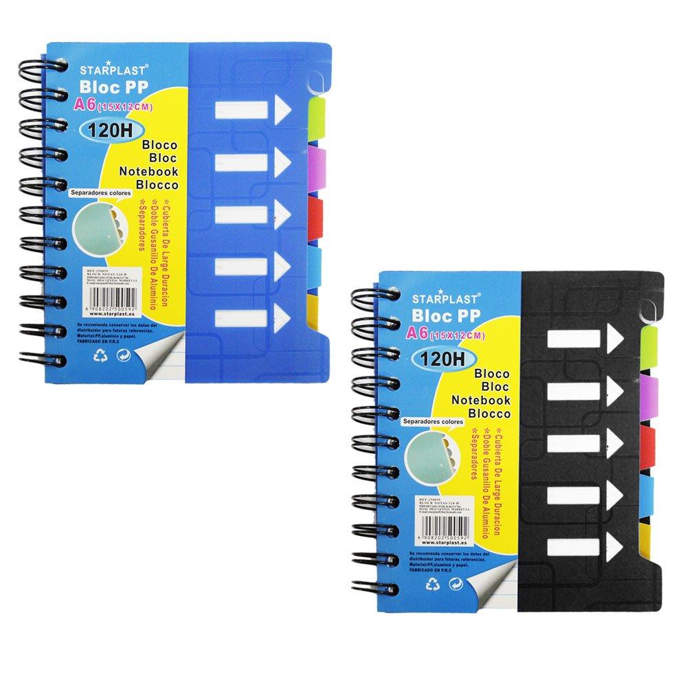 250059 - Set de 2 Libretas de notas con separadores, tamaño A6, 120 hojas de líneas STARPLAST