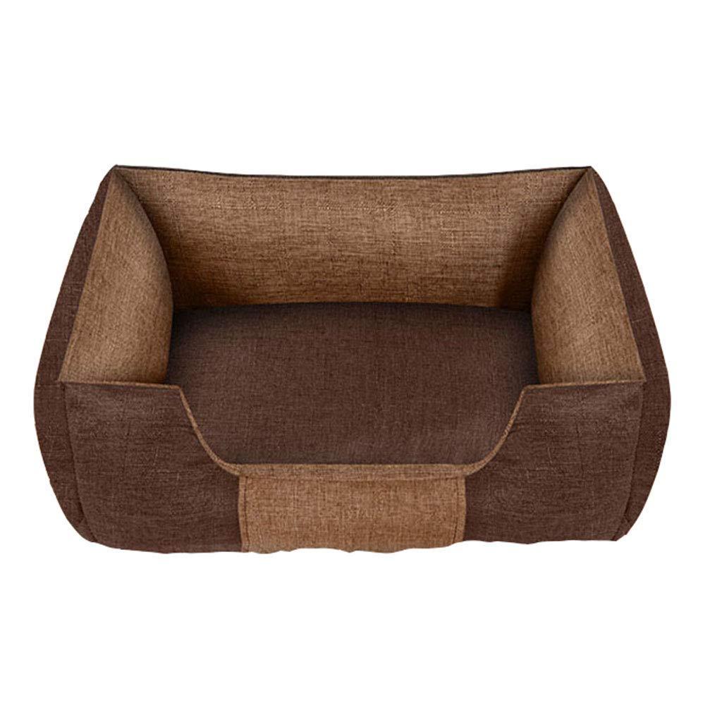 90×66cm BROWN 90×66cm BROWN pet bed Pet Mat, Large Dog Kennel Cat House Removable And Washable Pet Nest Wear-resistant Bite Pet Bed (color   BROWN, Size   90×66cm)