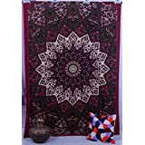 Maroon Star psychedelic Hippy tapestry in canada,bed sheets ,bed spread,hippy bed sheets,wall hangings,ethnic decor,home decor bed sheets,throw,picknic blankets,dorm tapestries By Montreal Tappesier